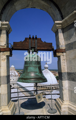 View from the top of the leaning tower of Pisa over the roof of the Duomo - Stock Image