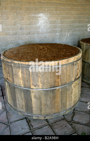 Mezcal Factory Nr Oaxaca, Mexico. Fermenting Barrels of Cooked and Crushed Hearts of Blue Agave. - Stock Image