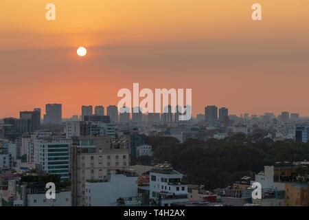 Sun set and Sky line at Ho Chi Minh city, Saigon, Vietnam, Asia, - Stock Image