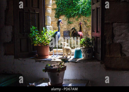 View through window, Santillana, Spain - Stock Image