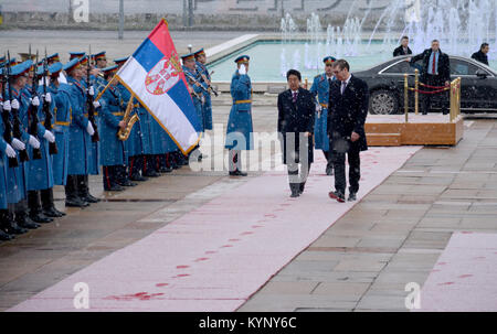 Belgrade, Serbia. January 15th 2018 - Japanese Prime Minister Shinzo Abe in official visit to Republic of Serbia. - Stock Image