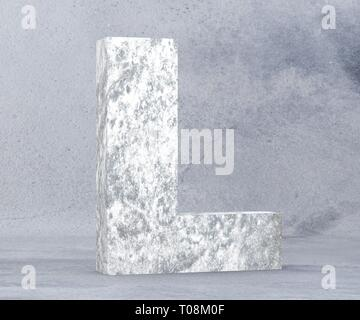Concrete Capital Letter - L isolated on white background. 3D render Illustration - Stock Image