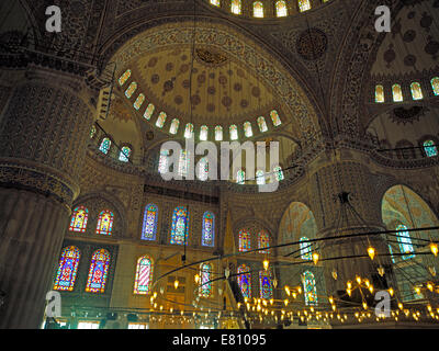 The interior of the Blue Mosque in Istanbul - Stock Image