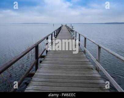Pier,  lake Mueritz, Mecklenburg-Vorpommern, Germany - Stock Image