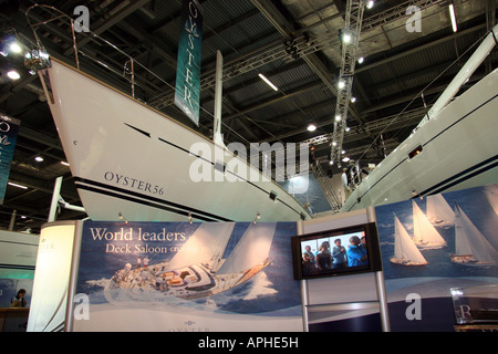 display stand for the Oyster 56 at the london boat show - Stock Image