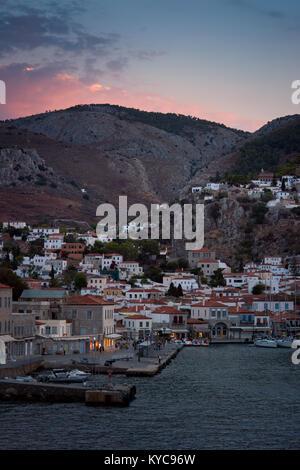 twillight at Hydra island greece - Stock Image