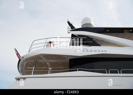 Southampton, UK. 11th September 2015. Southampton Boat Show 2015. The Sunseeker Yacht Stardust on their stand at - Stock Image