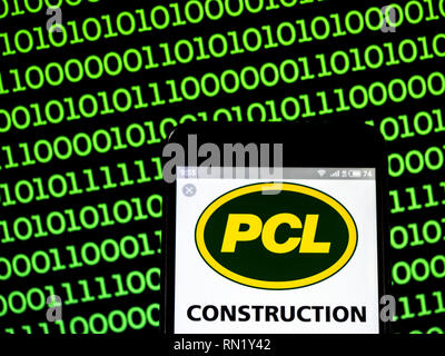 Ukraine. 16th Feb, 2019. PCL Construction company logo seen displayed on a smart phone. Credit: Igor Golovniov/SOPA Images/ZUMA Wire/Alamy Live News - Stock Image