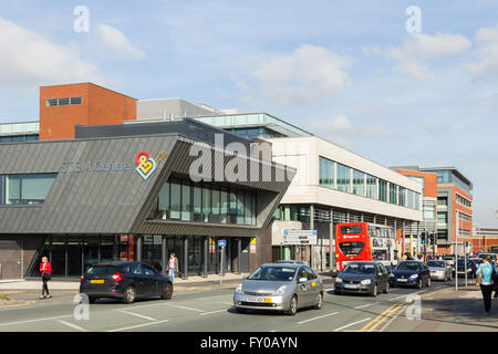 The STEM Centre and the main building of Bolton College on Derby Street, Bolton. - Stock Image