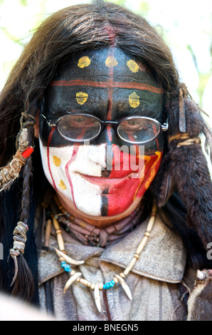 Portrait of a Native American with spectacles in Texas, USA - Stock Image