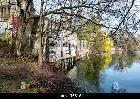 Berlin,Pankow. Weissensee State park, White Lake observation deck  and viewing point - Stock Image