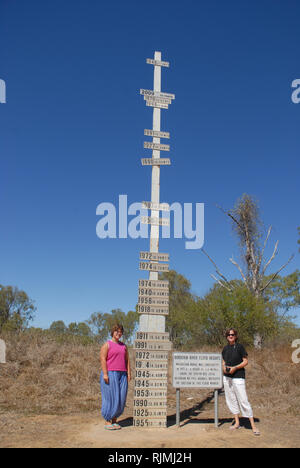 Tourists standing next to the Burdekin River flood marker, exploring the outback near Charters Towers, Queensland, Australia. - Stock Image