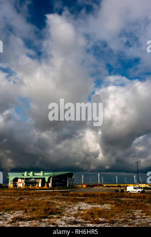 Redcar Cleveland England UK 01 February 2019.  With much of the country affected by severe cold weather, here on the North Yorkshire coast the cold wind from the Arctic is now coming directly from the East from the North Sea.  There are frequent snow and sleet showers with bright intervals with spectacular cloud formations. Credit: Peter Jordan_NE/Alamy Live News - Stock Image