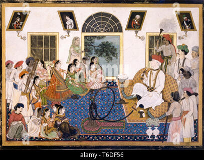 A European, probably Sir David Ochterlony (1758-1825), in Indian dress, smoking a hookah and watching a nautch in his house at Delhi, painting, c. 1820 - Stock Image