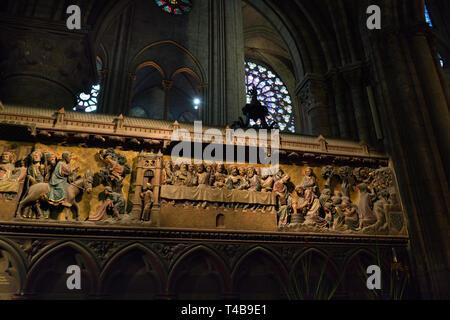 Paris, France - April 2, 2019: Interior of the Notre Dame de Paris. - Stock Image