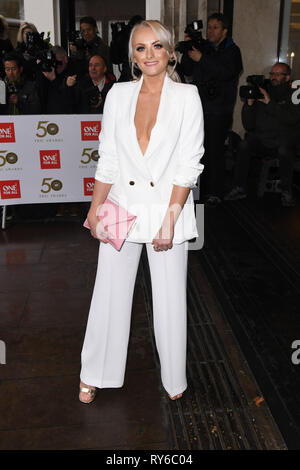 London, UK. 12th Mar, 2019. LONDON, UK. March 12, 2019: Katie McGlynn arriving for the TRIC Awards 2019 at the Grosvenor House Hotel, London. Picture: Steve Vas/Featureflash Credit: Paul Smith/Alamy Live News - Stock Image