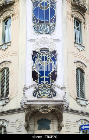 TURIN, ITALY - SEPTEMBER 10, 2017: Art Nouveau building villa Fenoglio Lafleur bow window detail with floral decorations in Turin, Italy - Stock Image