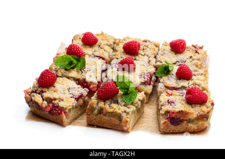Homemade  rhubarb tart with raspberry isolated on white - Stock Image