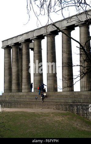 Calton Hill, Edinburgh, National monument, It was designed during 1823-6 by Charles Robert Cockerell and William - Stock Image