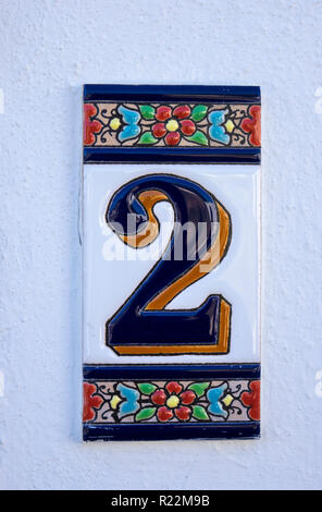 A Decorative Ceramic House Number 2 Sign In Albufeira The Algarve Portugal - Stock Image