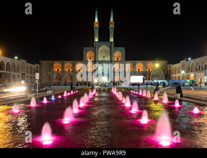 Amir Chakmaq complex by night with colorful lights, Yazd, Iran - Stock Image