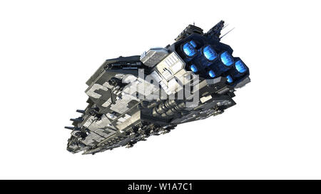 Alien spaceship flying, UFO spacecraft in flight isolated on white background, rear bottom view, 3D rendering - Stock Image