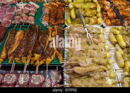 raw meat and chicken for barbecue , supermarket, - Stock Image