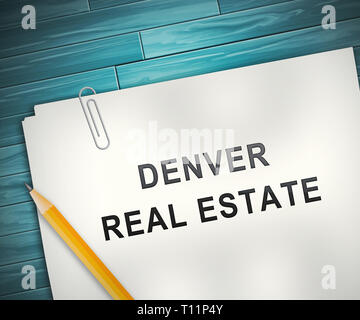 Denver Real Estate Contract Illustrates Colorado Property And Investment Housing. Realty Purchasing And Selling - 3d Illustration - Stock Image