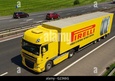 Pirelli tyres HGV travelling on the M56 motorway in Cheshire UK - Stock Image