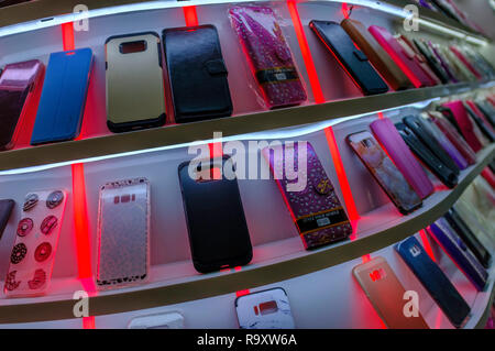 Display of mobile phone cases. - Stock Image