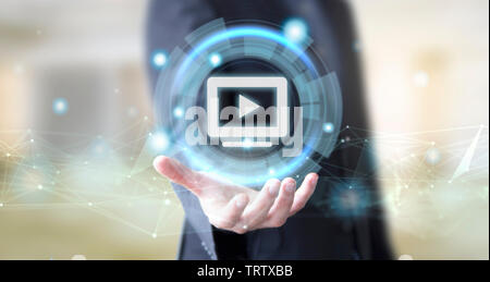 businessman hand with digital technology video concept - Stock Image