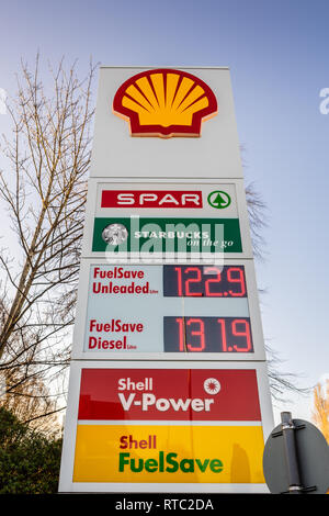 Fuel price display at a Shell petrol station in England during 2019,  UK - Stock Image