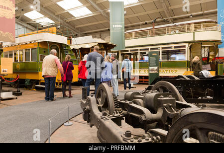 Visitors on a tour of the National Tramway Museum, Crich, Derbyshire. UK unsharpened - Stock Image