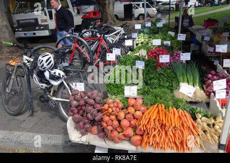 Fresh locally-grown produce next to the bicycle rack, Salamanca Markets, Hobart, Tasmania, Australia. No PR or MR - Stock Image