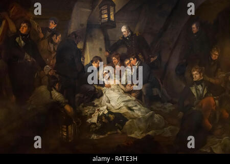 The Death of Nelson, 21st October 1805, Arthur William Devis, 1807, - Stock Image