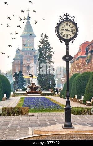 City Clock and Orthodox Cathedral, Victory Square, Timisoara, Romania - Stock Image