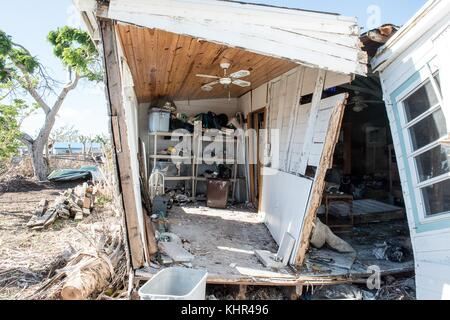A damaged home in the aftermath of Hurricane Irma November 10, 2017 in Big Pine Key, Florida.   (photo by Howard - Stock Image