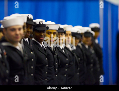 Sailors stand in formation. - Stock Image