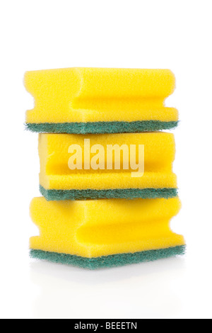 Three scouring pads isolated on a white background - Stock Image