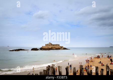 National fort built by Vauban from a beach, Saint Malo, Brittany, France, Europe. - Stock Image