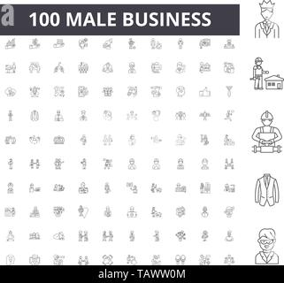 Male business line icons, signs, vector set, outline illustration concept  - Stock Image