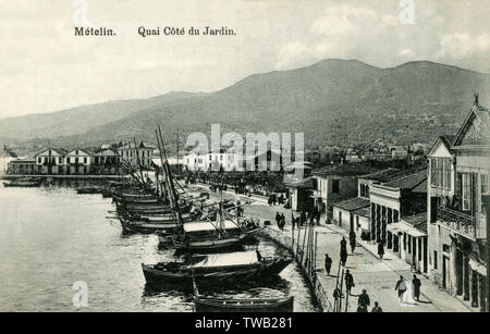 Metelin - The Quay of the Port, Lesbos, Greece - close to the Public Gardens - at this stage under Turkish control.     Date: circa 1908 - Stock Image