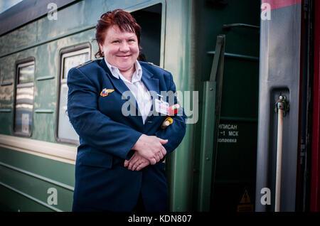 MOSCOU, RUSSIE, MAI 5 : Depart du Transsiberien sur le quai de la gare de Iaroslav, les voyageurs sont accueillis - Stock Image