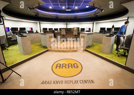 The 'Arag KNVB Replay Center' at the headquarters of the Dutch soccer federation is the room where the VAR (video assistant referee) is working. - Stock Image