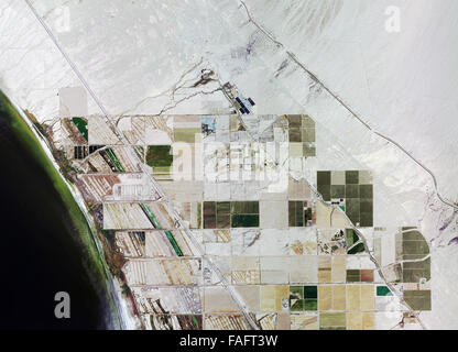 historical aerial photograph of Salton Sea, Niland, Imperial County, California - Stock Image