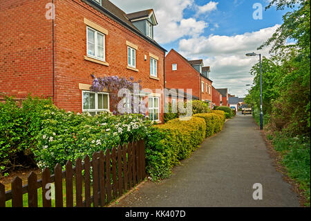 New houses on a residential development in Stratford upon Avon, Warwickshire - Stock Image