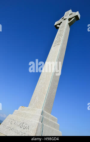 The Tennyson Monument on Tennyson Down, Isle of Wight commemorates Alfred, Lord Tennyson, the Victorian Poet Laureate. - Stock Image