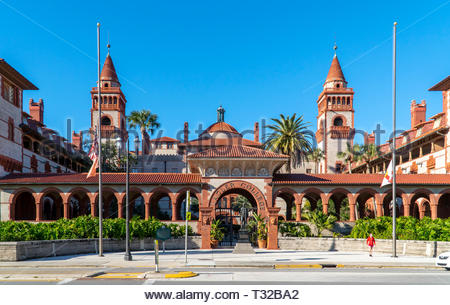 Main entrance to Flagler College, formerly the Ponce de Leon Hotel, in the historic district of Saint Augustine, Florida USA - Stock Image