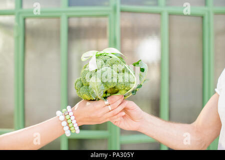 Giving fresh bunch of broccoli tied in a bow as a gift outdoors on the green background, close-up view - Stock Image