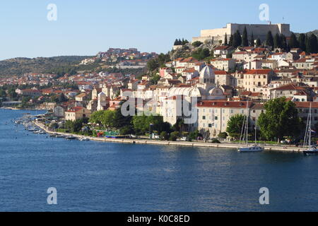 Waterfront in the Croatian port of Sibenik from decks of Azamara Quest - Stock Image